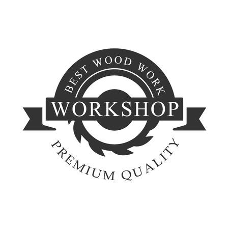 Circ Saw And Ribbon Premium Quality Wood Workshop Monochrome Retro Stamp Design Template.