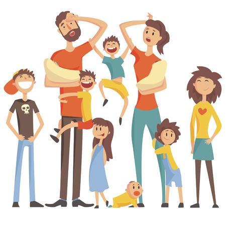 Glückliche kaukasische Familie mit vielen Kindern Porträt mit der All Kinder und Babys und müde Eltern Bunte Illustration. Cartoon Liebend Familienmitglieder Zeichnen mit Kindern unterschiedlichen Alters, Mann und Frau.
