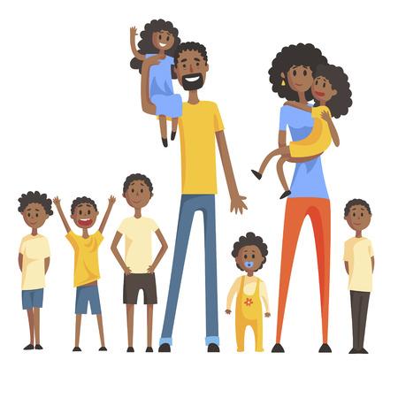 Gelukkige zwarte familie met veel kinderen Portret met alle kinderen en baby's en lachende ouders Kleurrijke Illustratie. Cartoon Loving Familieleden tekenen met kinderen van verschillende leeftijden, man en vrouw. Stock Illustratie