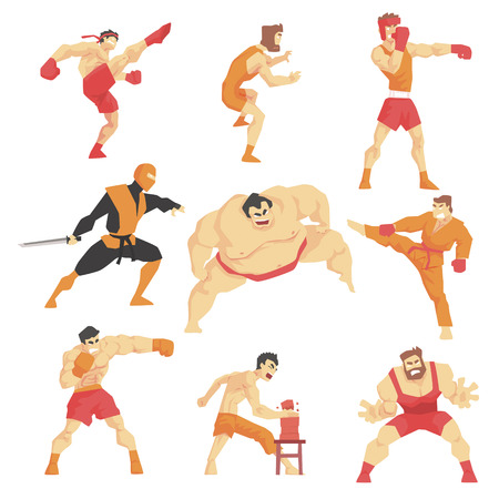 Arti marziali Fighters mostrando differenti Kicks Tecnica Insieme Di Lotta asiatico sport professionistico nella lotta contro la tradizionale Outfits Sportiva abbigliamento. Collezione Fun geometrica del fumetto di caratteri Facendo Taekwondo, Karate, Sumo e Altro Oriental Figh