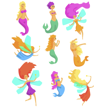 fictional character: Mermaids And Fairies Fairy-Tale Fantastic Creatures With Wings And Fish Tail Set Of Colorful Cartoon Characters. Girly Fairy Story Collection Of Vector Illustrations With Magical Female Creatures.