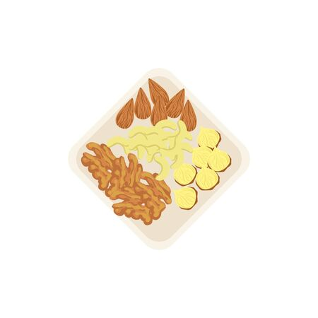 pekan: Nuts lying on the plate, a handful of mixed nuts. Cashews, almonds, funtouch and walnuts are on the plate. Healthy snack vector