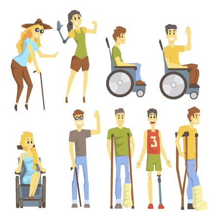 Young People With Permanent And Temporary Disabilities Overcoming The Injury And Living Full Live Collection Of Illustrations.