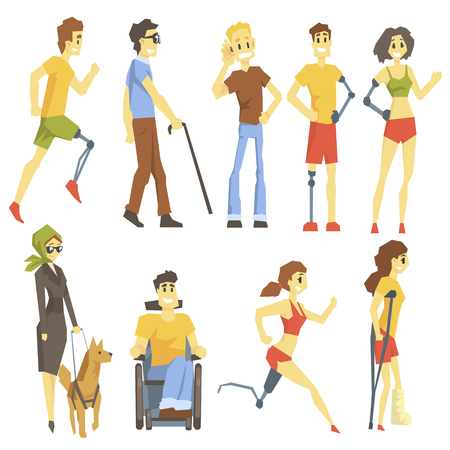 Young People With Permanent And Temporary Disabilities Overcoming The Injury Living Full Live And Doing Sports Collection Of Vector Illustrations. Set Of Handicapped Man And Women Happy Cartoon Characters Blind, In Wheelchair With Artificial Limbs And In