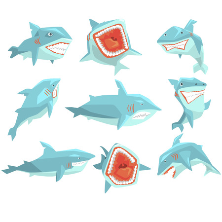 gills: Great White Shark Marine Fish Living In Warm Sea Waters Realistic Cartoon Character Vector Set Of Different Views Illustrations. Collection Of Geometric Funky Drawings With Aggressive Dangerous Marine Species Icons.