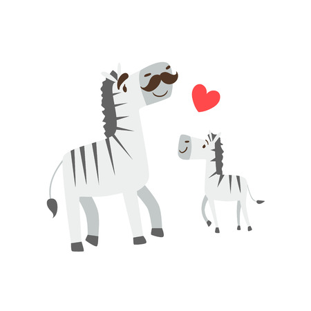 Zebra Dad With Moustache Animal Parent And Its Baby Calf Parenthood Themed Colorful Illustration With Cartoon Fauna Characters. Smiling Zoo Wildlife Loving Family Members United With Heart Symbol Vector Drawing Illustration