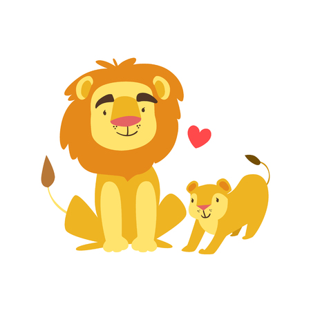Lion Dad Animal Parent And Its Baby Calf Parenthood Themed Colorful Illustration With Cartoon Fauna Characters. Smiling Zoo Wildlife Loving Family Members United With Heart Symbol Vector Drawing