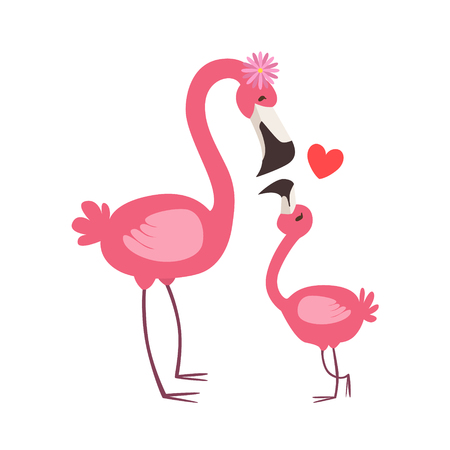 Pink Flamingo Mom With Flower Animal Parent And Its Baby Calf Parenthood Themed Colorful Illustration With Cartoon Fauna Characters. Smiling Zoo Wildlife Loving Family Members United With Heart Symbol Vector Drawing Illustration