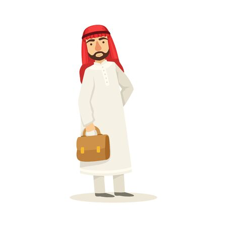 Arabic Muslim Businessman Dressed In Traditional Thwab Clothes And Wearing Headdress Kufiya Holding Suitcase Working In Financial Business Sphere. Cartoon Arab Rich Sheikh Character In Islamic Outfit Flat Vector Illustration. Illustration