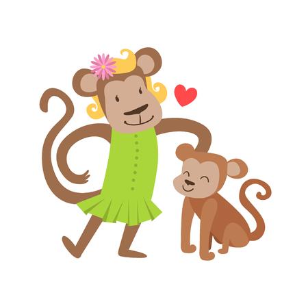 Mono mamá Padres En Vestido animal y su colorida ilustración becerro del bebé de la Familia temáticas de fauna de la historieta Caracteres. Sonriendo zoo Amar Miembros de la familia Estados Con El Gráfico vectorial símbolo del corazón