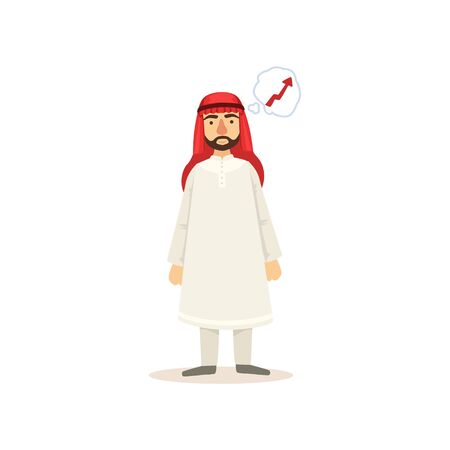 Arabic Muslim Businessman Dressed In Traditional Thwab Clothes And Wearing Headdress Kufiya Working In Financial Business Sphere Thinking Of Growth. Cartoon Arab Rich Sheikh Character In Islamic Outfit Flat Vector Illustration. Illustration