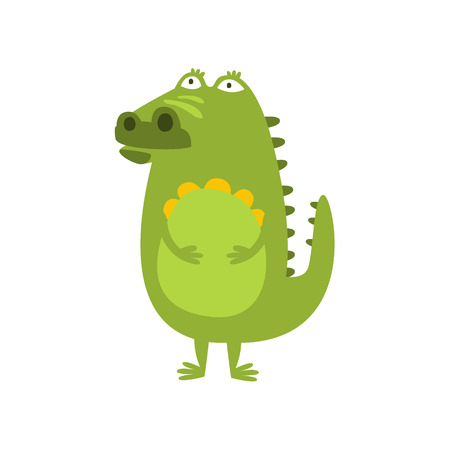 different thinking: Crocodile Standing Daydreaming And Thinking Flat Cartoon Green Friendly Reptile Animal Character Drawing. Part Of Alligator And Its Different Positions And Activities Collection Of Childish Fauna Colorful Vector Illustrations.
