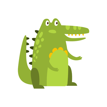 its: Crocodile Sitting Straight Like Man Flat Cartoon Green Friendly Reptile Animal Character Drawing. Part Of Alligator And Its Different Positions And Activities Collection Of Childish Fauna Colorful Vector Illustrations.