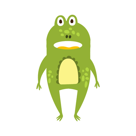 part frog: Frog Standing Facing Flat Cartoon Green Friendly Reptile Animal Character Drawing. Part Of Toad And Its Different Positions And Activities Collection Of Childish Fauna Colorful Vector Illustrations.