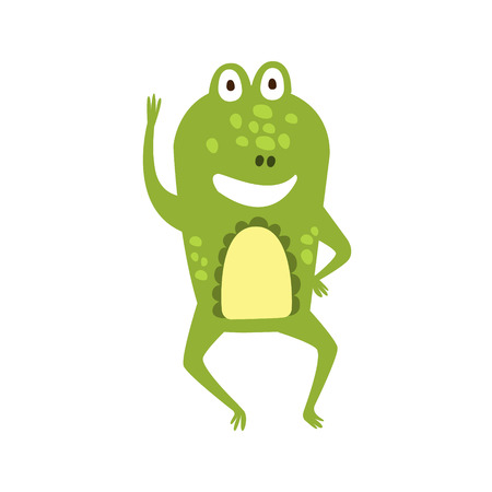part frog: Frog Waving Greeting Flat Cartoon Green Friendly Reptile Animal Character Drawing. Part Of Toad And Its Different Positions And Activities Collection Of Childish Fauna Colorful Vector Illustrations.