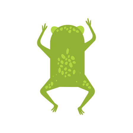 Frog Running Away Turning Its Back Flat Cartoon Green Friendly Reptile Animal Character Drawing. Part Of Toad And Its Different Positions And Activities Collection Of Childish Fauna Colorful Vector Illustrations. Illustration