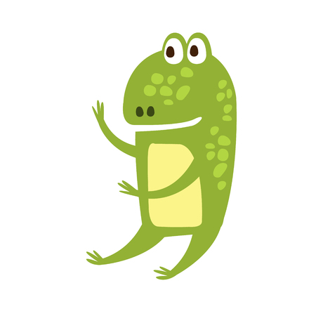 part frog: Frog Sitting Like Human Flat Cartoon Green Friendly Reptile Animal Character Drawing. Part Of Toad And Its Different Positions And Activities Collection Of Childish Fauna Colorful Vector Illustrations.