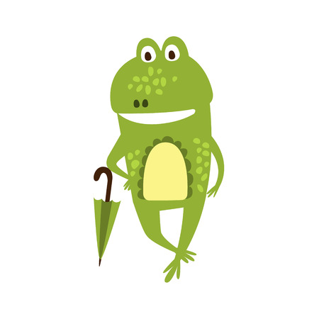 part frog: Frog With Umbrella Flat Cartoon Green Friendly Reptile Animal Character Drawing. Part Of Toad And Its Different Positions And Activities Collection Of Childish Fauna Colorful Vector Illustrations.