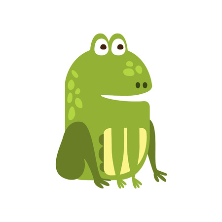 part frog: Frog Sitting Properly Flat Cartoon Green Friendly Reptile Animal Character Drawing. Part Of Toad And Its Different Positions And Activities Collection Of Childish Fauna Colorful Vector Illustrations.
