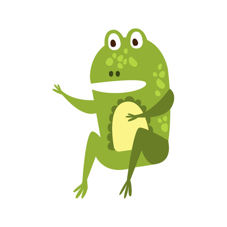 part frog: Frog Sitting Like Man Speaking Flat Cartoon Green Friendly Reptile Animal Character Drawing. Part Of Toad And Its Different Positions And Activities Collection Of Childish Fauna Colorful Vector Illustrations.