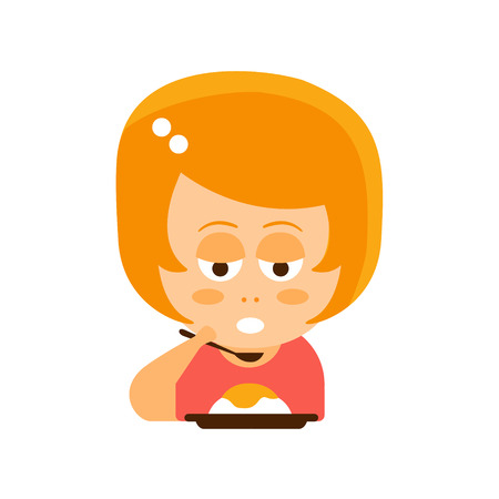 uninterested: Little Red Head Girl In Red Dress Eating Flat Cartoon Character Portrait Emoji Vector Illustration. Part Of Emotional Facial Expressions And Activities Of Small Cute Kid.