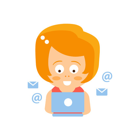 Little Red Head Girl In Red Dress Reading E-mail On Lap Top Flat Cartoon Character Portrait Emoji Vector Illustration