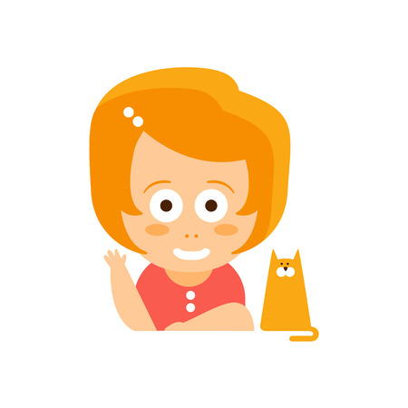 Little Red Head Girl In Red Dress Waving And Smiling Sitting With Her Cat Flat Cartoon Character Portrait Emoji Vector Illustration. Part Of Emotional Facial Expressions And Activities Of Small Cute Kid.