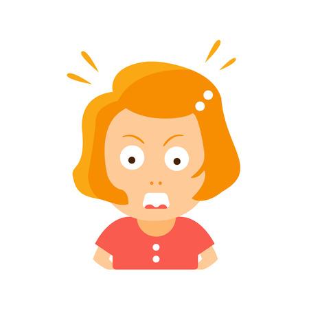 Little Red Head fille en robe rouge Enragé Cartoon Flat Character Portrait Emoji Vector Illustration. Partie des expressions et des activités des petits Cute Kid faciaux émotionnels.