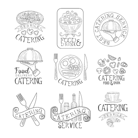 Best Quality Catering Service Set Of Hand Drawn Black And White Sign Design Templates With Calligraphic Text. Collection Of Promotion Ads For Watering And Food Servicing Business In Monochrome Vector Sketch Style Illustrations.