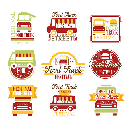 established: Food Truck Cafe Street Food Promo Signs Set Of Colorful Vector Design Templates With Vehicle Silhouette. Fast Food Restaurant On Wheels Labels In Flat Bright Illustrations With Text.