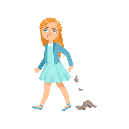 aggressively: Girl Littering Teenage Bully Demonstrating Mischievous Uncontrollable Delinquent Behavior Cartoon Illustration. Cute Big-Eyed Child Vector Character Behaving Aggressively And Bullying Other Children.