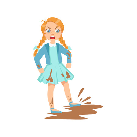 Girl Doing Splash In Mud Puddle Teenage Bully Demonstrating Mischievous Uncontrollable Delinquent Behavior Cartoon Illustration. Cute Big-Eyed Child Vector Character Behaving Aggressively And Bullying Other Children. Illustration