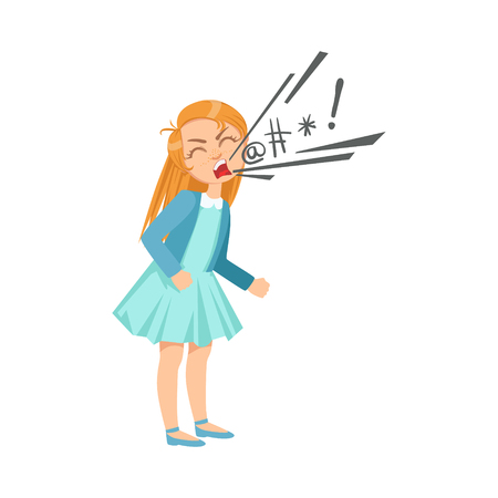 Girl Cursing Teenage Bully Demonstrating Mischievous Uncontrollable Delinquent Behavior Cartoon Illustration. Cute Big-Eyed Child Vector Character Behaving Aggressively And Bullying Other Children.