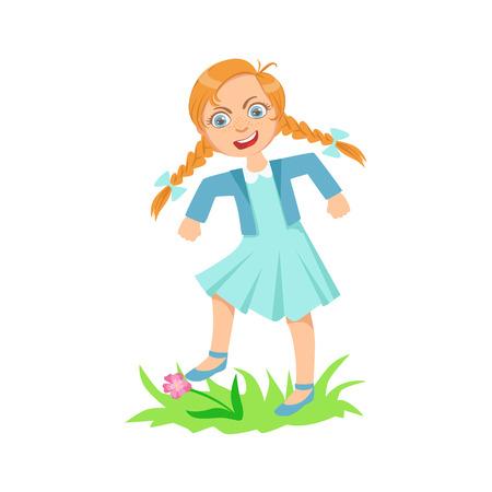 Fille marchant sur la pelouse Herbe Casser Fleurs adolescent Bully Manifestation Mischievous Incontrôlable Delinquent Behavior Cartoon Illustration. Mignon Personnage Big-Eyed enfant Vector comportement agressif et de l'intimidation des autres enfants.