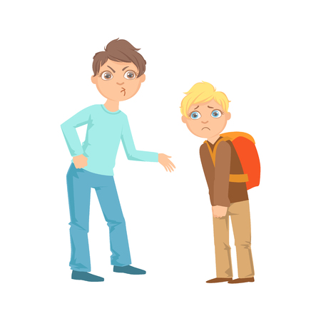 mischievous: Boy Exorting Money From Weaker Kid Teenage Bully Demonstrating Mischievous Uncontrollable Delinquent Behavior Cartoon Illustration. Cute Big-Eyed Child Vector Character Behaving Aggressively And Bullying Other Children.