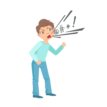 Boy Cursing Teenage Bully Demonstrating Mischievous Uncontrollable Delinquent Behavior Cartoon Illustration. Cute Big-Eyed Child Vector Character Behaving Aggressively And Bullying Other Children.