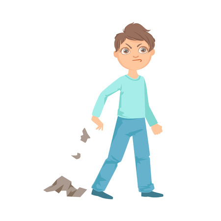 Boy Littering Teenage Bully Demonstrating Mischievous Uncontrollable Delinquent Behavior Cartoon Illustration. Cute Big-Eyed Child Vector Character Behaving Aggressively And Bullying Other Children.