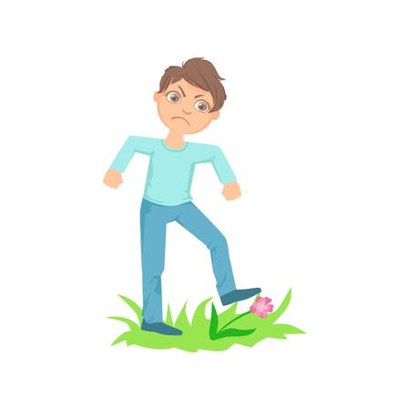 Boy Walking On Lawn Herbe Casser Fleurs adolescent Bully Manifestation Mischievous Incontrôlable Delinquent Behavior Cartoon Illustration. Mignon Personnage Big-Eyed enfant Vector comportement agressif et de l'intimidation des autres enfants.
