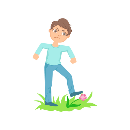 Boy Walking On Lawn Grass Breaking Flowers Teenage Bully Demonstrating Mischievous Uncontrollable Delinquent Behavior Cartoon Illustration. Cute Big-Eyed Child Vector Character Behaving Aggressively And Bullying Other Children.