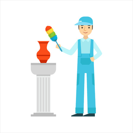 Man Dusting Antique Vase With Dust Brush, Cleaning Service Professional Cleaner In Uniform Cleaning In The Household. Person Working In Housekeeping At Work Doing Clean Up Vector Illustration. Illustration
