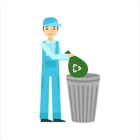 clean up: Man Throwing Garbage In Recycle Bin, Cleaning Service Professional Cleaner In Uniform Cleaning In The Household. Person Working In Housekeeping At Work Doing Clean Up Vector Illustration.