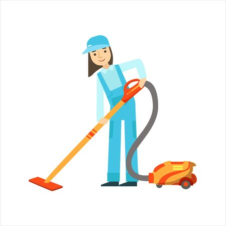 dungarees: Girl Using The Vacuum Cleaner, Cleaning Service Professional Cleaner In Uniform Cleaning In The Household. Person Working In Housekeeping At Work Doing Clean Up Vector Illustration.