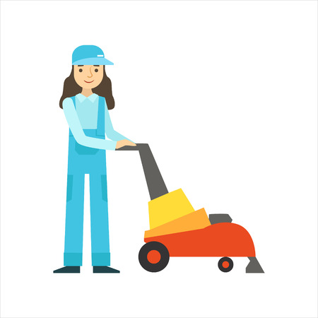 dungarees: Womoan Using High-Tech, Cleaning Service Professional Cleaner In Uniform Cleaning In The Household. Person Working In Housekeeping At Work Doing Clean Up Vector Illustration. Illustration