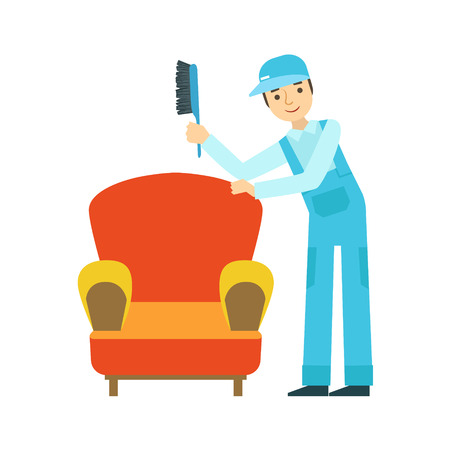 Man Dusting Armchair With Brush, Cleaning Service Professional Cleaner In Uniform Cleaning In The Household. Person Working In Housekeeping At Work Doing Clean Up Vector Illustration.