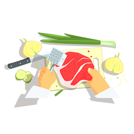 pork chop: Hands Of Professional Cook Cutting Ingredients For Pork Chop With Onions Cooking. Food Preparation Process In Restaurant Kitchen View From Above Cartoon Illustration.