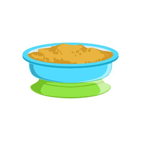 접시에 곡물 죽 작은 유아 만화 그림의 첫 보완 수유에 대 한 허용 보충 유아식 제품. 다채로운 플랫 벡터 드로잉 유아 올바른 규정 식을 허용하는 식사