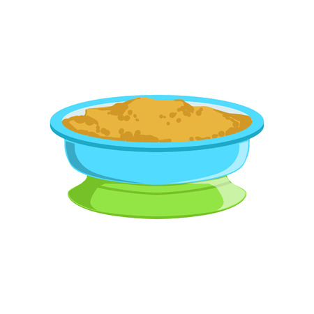 Grain Porridge In Plate Supplemental Baby Food Products Allowed For First Complementary Feeding Of Small Child Cartoon Illustration. Colorful Flat Vector Drawing With Meal Allowed For Toddler Proper Diet. Illustration