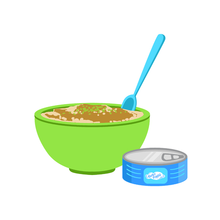 Industrical Canned Puree In Bowl Supplemental Baby Food Products Allowed For First Complementary Feeding Of Small Child Cartoon Illustration. Colorful Flat Vector Drawing With Meal Allowed For Toddler Proper Diet.