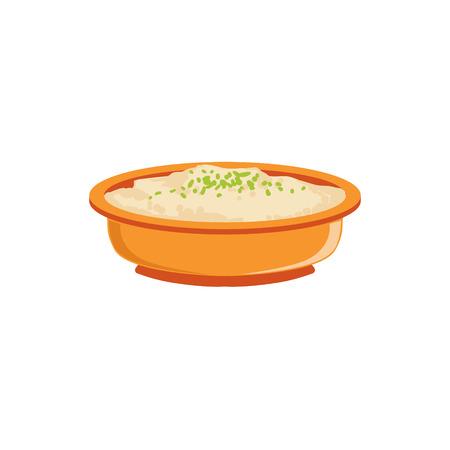 complementary: Rice Pudding In Bowl Supplemental Baby Food Products Allowed For First Complementary Feeding Of Small Child Cartoon Illustration. Colorful Flat Vector Drawing With Meal Allowed For Toddler Proper Diet.