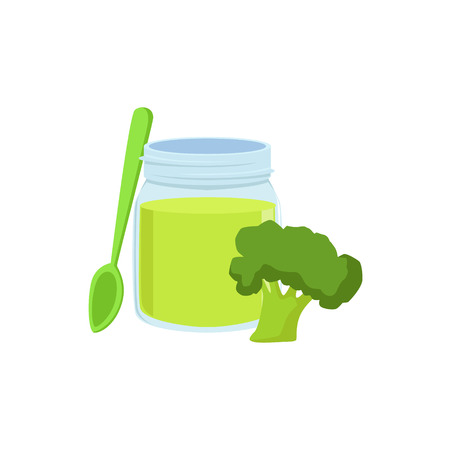 complementary: Fresh Broccoli Juice Supplemental Baby Food Products Allowed For First Complementary Feeding Of Small Child Cartoon Illustration. Colorful Flat Vector Drawing With Meal Allowed For Toddler Proper Diet.